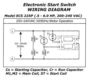 Electronic motor start switch ecs225p for Electric motor centrifugal switch replacement
